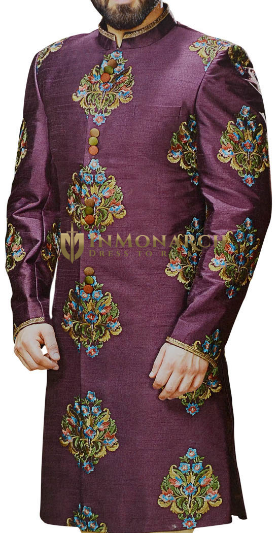 Embellished Magenta Mens Indian Sherwani with Floral Motifs