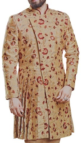 Burlywood Indian Sherwani for Men Decorated with Floral Motifs