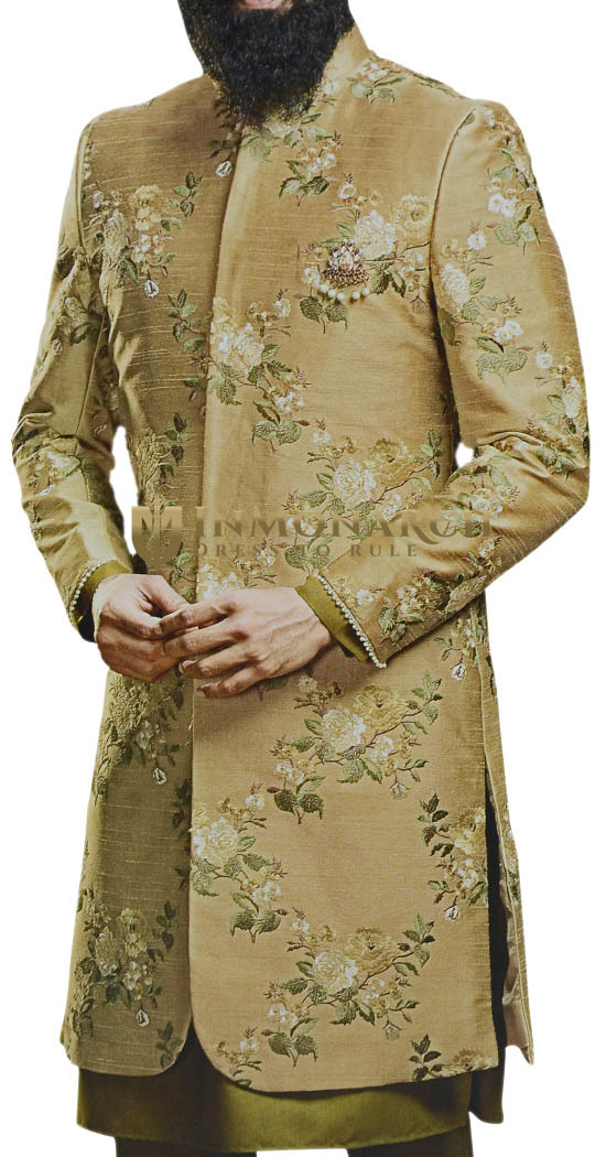 Green Indian clothing Mens Sherwani with embellished floral motifs