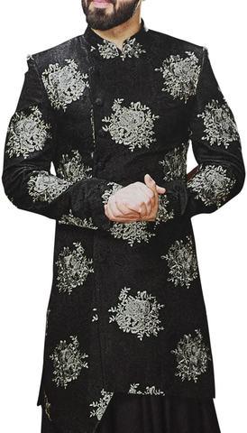 Black Sherwani for Men Indian Wedding Embroidered Dress