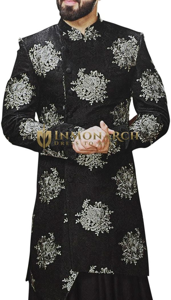 Black Sherwani for Men Indian Wedding Embroidered Dress