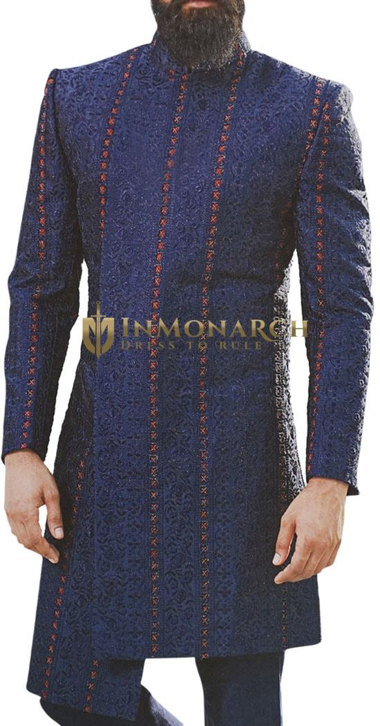 Navy Blue Sherwani for Men Decorated with threaded Motifs