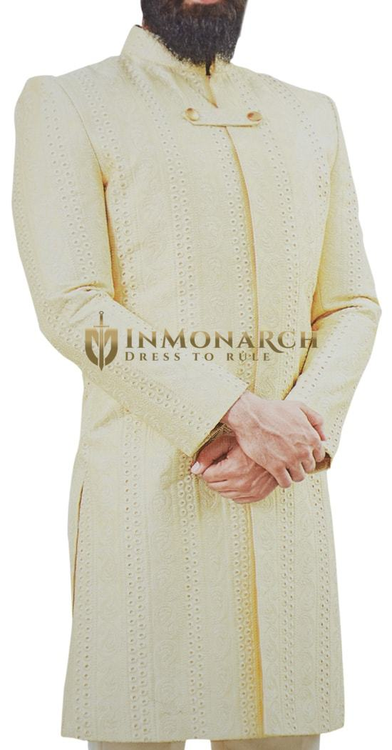 Cream Mens Indian Sherwani Decorated with thread Motifs