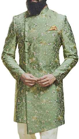 Men Wedding Indian Groom Outfit  Asymmetric Indowestern Sherwani  in Moss color