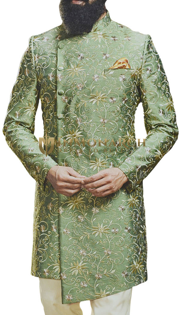 Moss Mens Sherwani with stylish cut and Decorated with Floral Motifs
