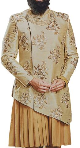 Mens Embroidered Burlywood Color Sherwani for Wedding with cowl kurta and pyjama