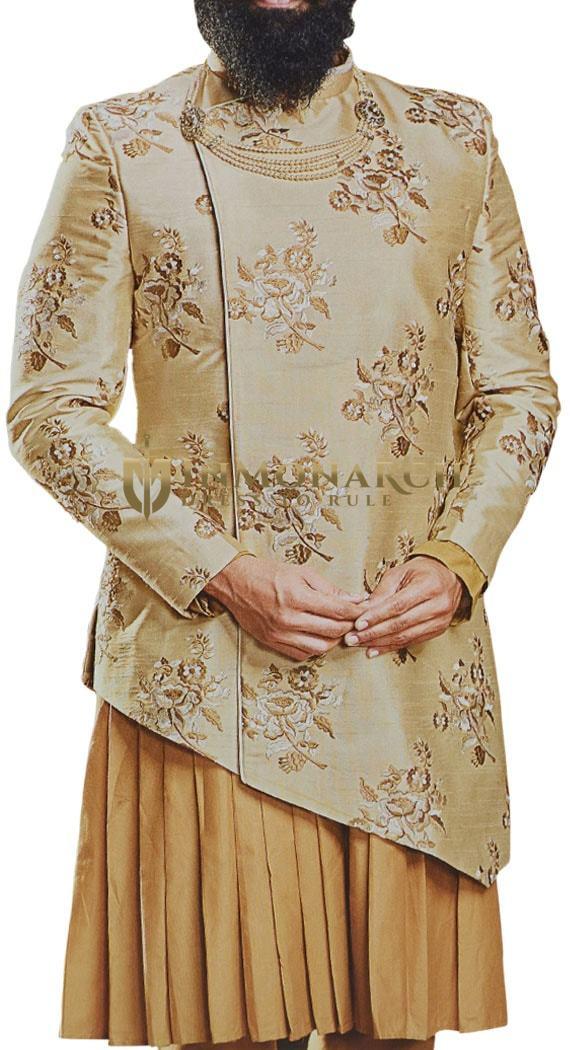 Burlywood Mens Indian Dress Sherwani with Floral Motifs for Wedding with kurta and pyjama