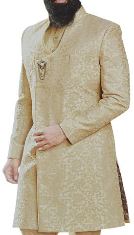 Trendy Floral Sherwani With Churidar and kurta in champagne color