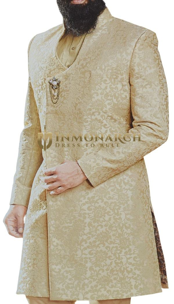 Champagne Mens Sherwani for Indian Wedding with overall Embroidery