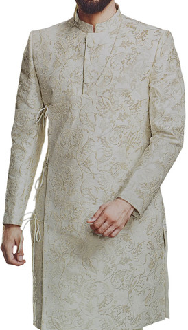 Mens Stylish overall Embroidered Indian Sherwani in Almond Color
