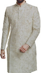 Light Grey Mens Indian Sherwani with Overall Decorations