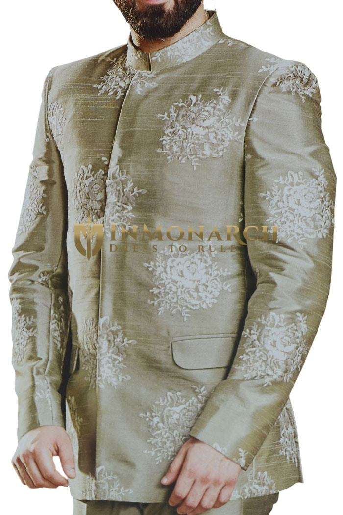 Mens Jodhpuri Olive Drab Color Embroidered Suit