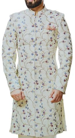 Cream Mens Sherwani for groom with floral embroidery