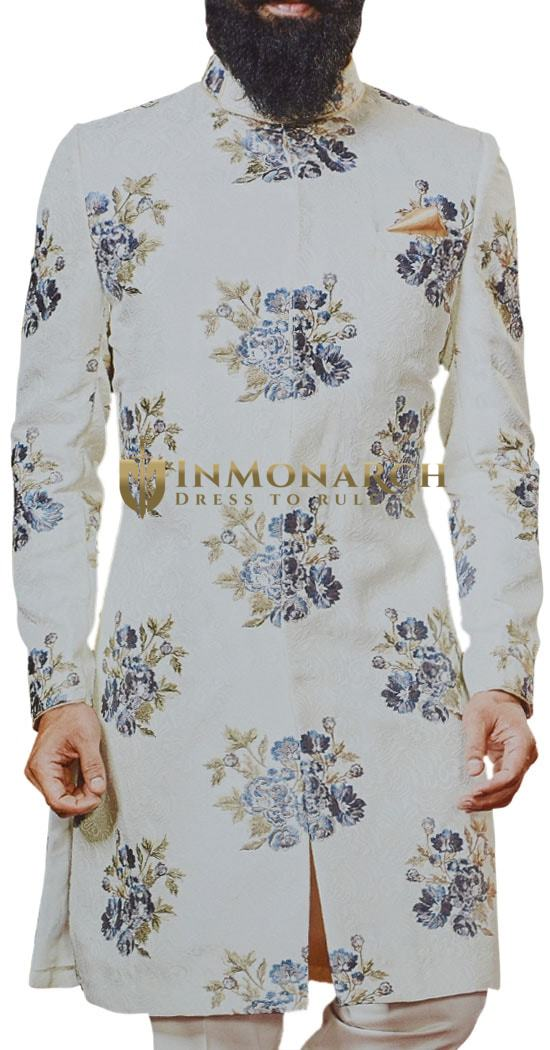 Cream Sherwani for Men Wedding with Pant