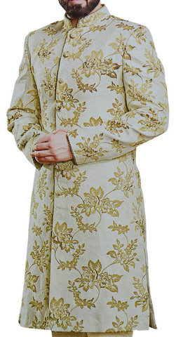 Indian clothing for men Floral Sherwani With Churidar in Taupe color