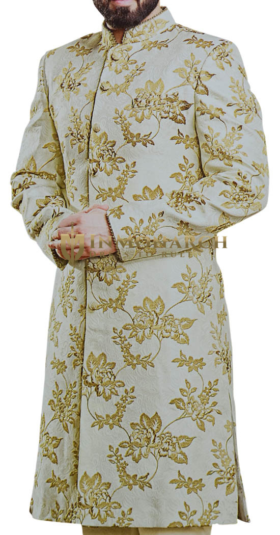 Taupe Indian Clothing for Men Floral Sherwani