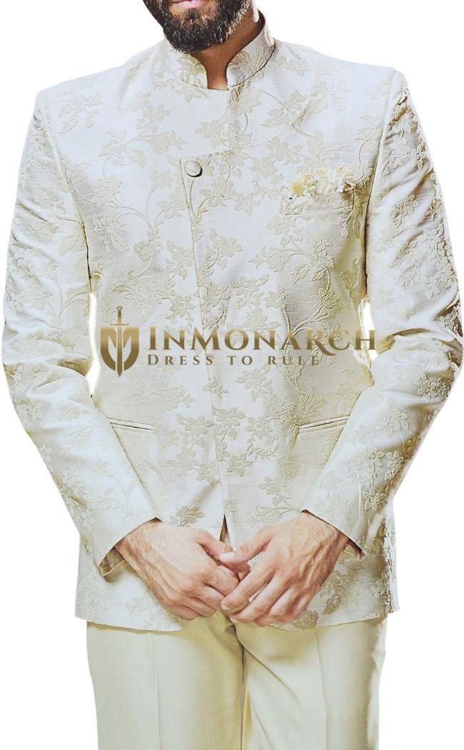 Mandarin collar Mens Indian Wedding Cream Embroidered Jodhpuri Suit