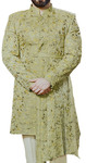 Mens Embroidered Clover Indian Wedding stylish Groom Suit in Mandarin collar