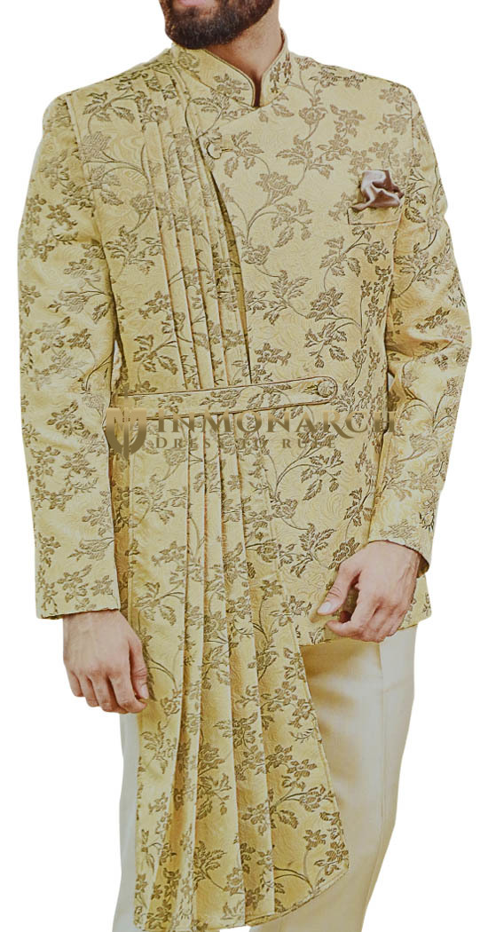 Indian Wedding Bhandgala Mens Yellow Embroidered Jodhpuri Suit
