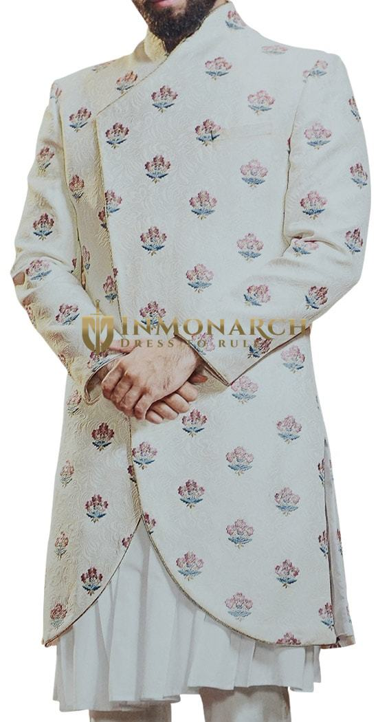 Indian Groom Outfit Cream Embroidered Angrakha style Jodhpuri Suit for Indian Wedding