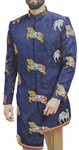 Mandarin Collar Navy Blue Embroidered Jodhpuri Indian Wedding Suit