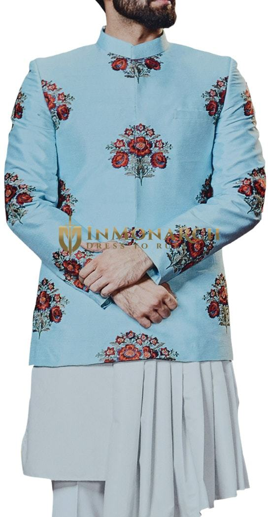 Sky Blue Embroidered Jodhpuri Indian Wedding Groom Suit