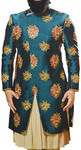 Peacock Indian dress for Men Decorated Sherwani with Floral Motifs