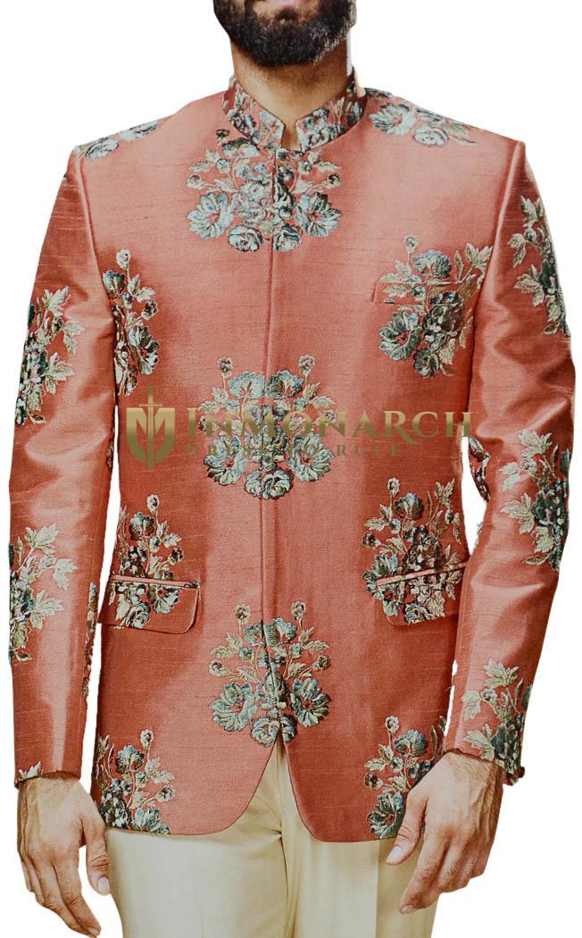 Salmon Embroidered Mandarin Collar Jodhpuri Indian Wedding Suit