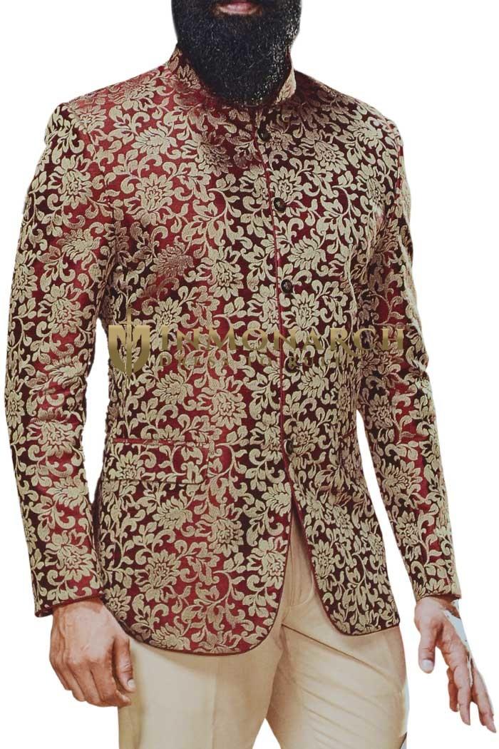 Jodhpuri Burgundy Indian Wedding Groom Suit