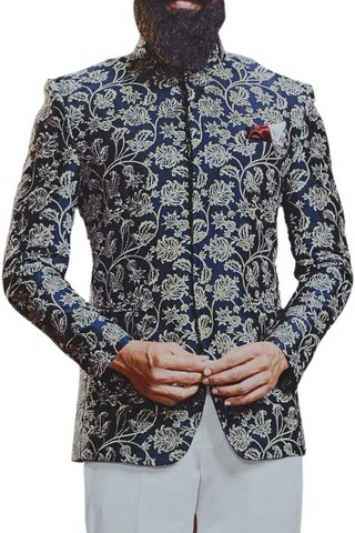 Navy Blue Concealed button Jacquard Jodhpuri Indian Wedding Suit
