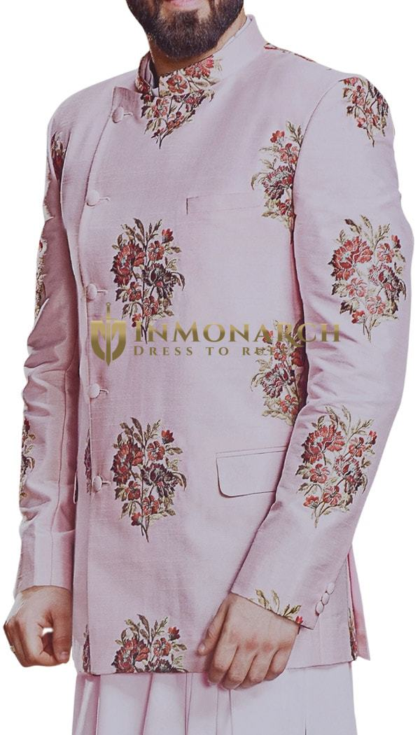Plum Embroidered Mandarin Collar Indian Wedding Suit