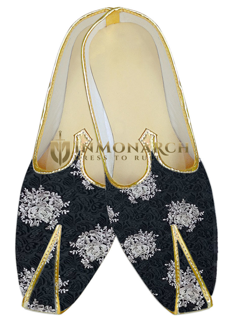 Mens Indian Bridalembroidered Black WeddingShoes For Men