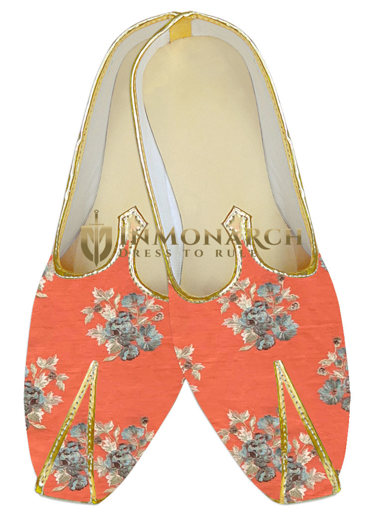Wedding Shoes For Men red Indian Bridal embroidered juti