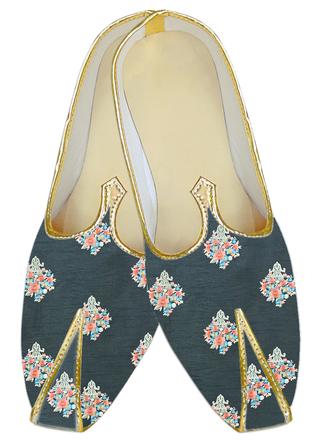 Traditional embroidered Black WeddingShoes For Men