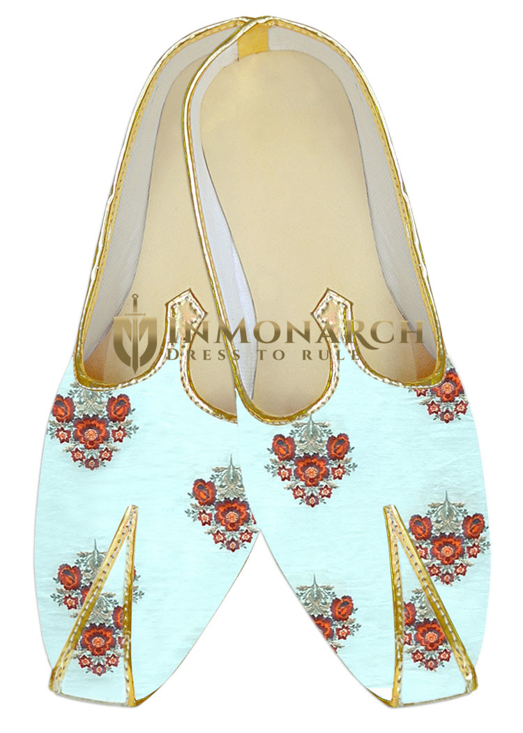 Sherwani shoes sky blue embroidered Wedding Shoes For groom