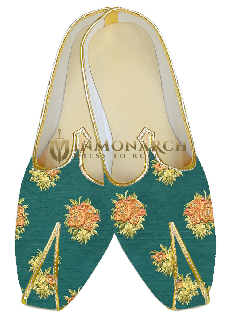 Embroidered green Wedding juti For Men sherwani shoes