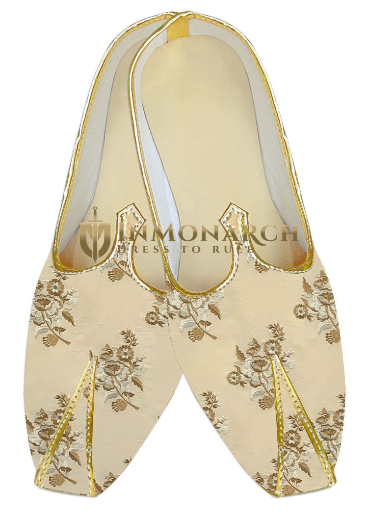 Indian mens shoes embroidered beige sherwani shoes for Men