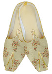 Embroidered Beige traditional sherwani shoes for men