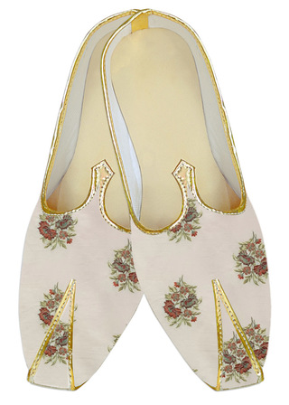 Mens Indian Bridal embroidered beige Wedding shoe for groom