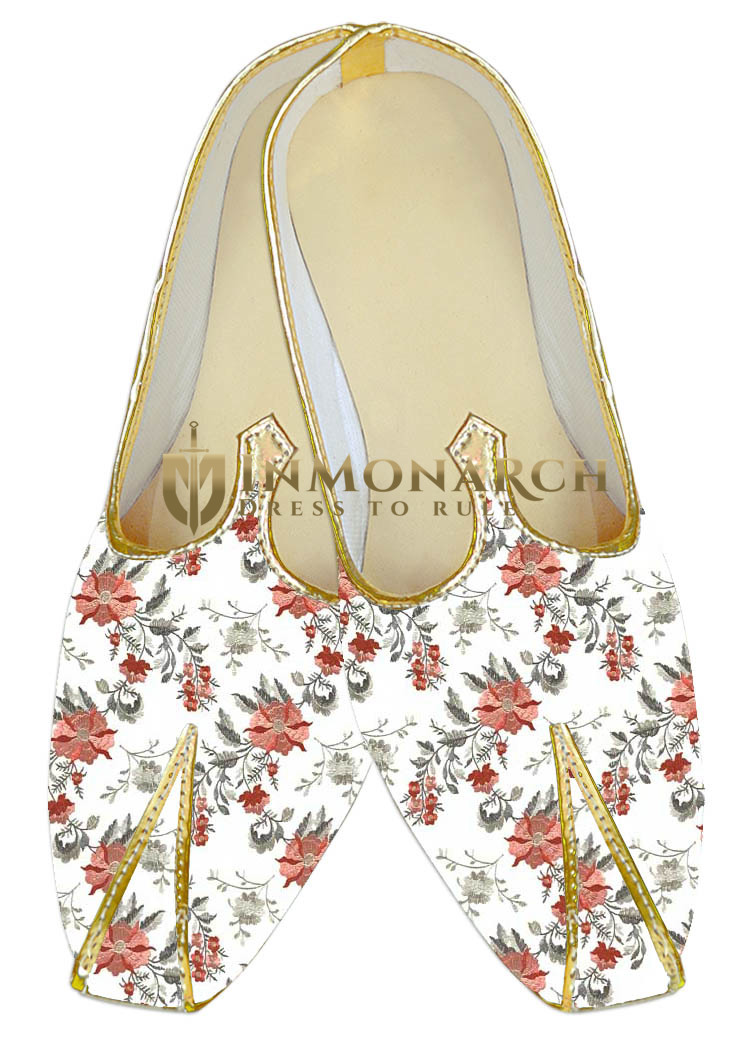 White floral embroidered sherwani shoes for Men
