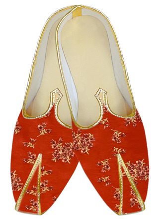 Red floral embroidered wedding shoe for Men