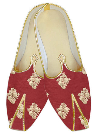 Red wedding shoe for groom Embroidered Juti for men