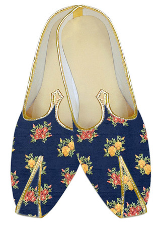 Traditional embroidered dark-navy wedding shoe for groom