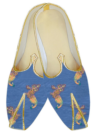 Embroidered Ink blue Sherwani shoes for men