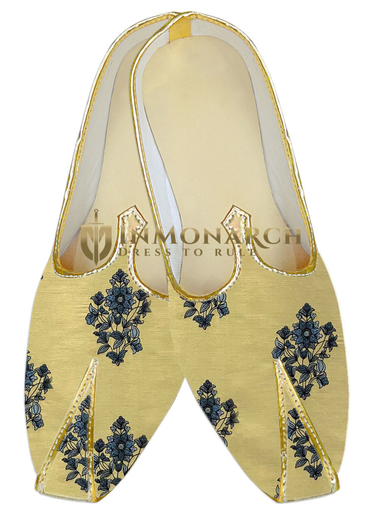 Yellow Indian mens shoes Embroidered Juti for men