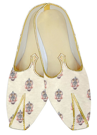 Cream embroidered traditional Indian mens shoes