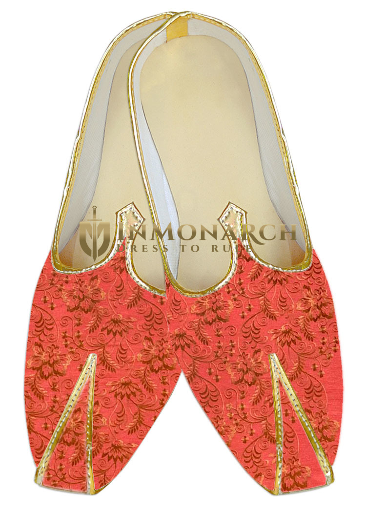 Red floral embroidered wedding shoe for groom