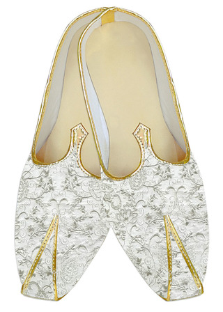 White floral embroidered wedding shoes for groom
