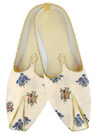 Yellow embroidered traditional shoes for men