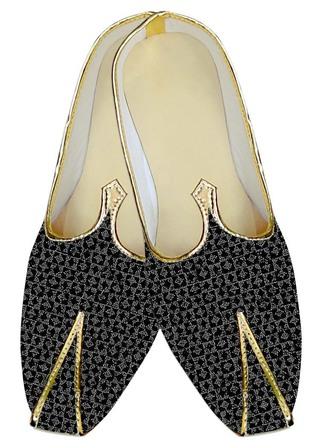 Juti ForMen Black and Silver Wedding Shoes Box Pattern ShoeFor Groom